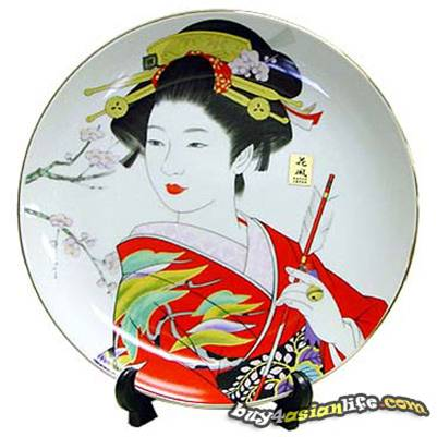 DECORATIVE PLATE W/ STAND- GEISHA IN RED