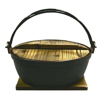 "Cast Iron Nabe Pot 7"" w/ Wooden Lid & Base"
