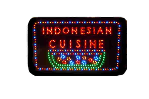 Window Indoor Custom Made LED Sign-INDONESIAN CUISINE