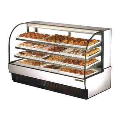 True TCGD-77 Curved Glass Black Dry Bakery Case
